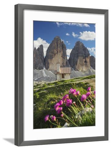Chapel, Tre Cime Di Lavaredo (Three Merlons), South Tyrol, the Dolomites Mountains, Italy-Rainer Mirau-Framed Art Print