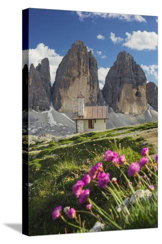 Chapel, Tre Cime Di Lavaredo (Three Merlons), South Tyrol, the Dolomites Mountains, Italy-Rainer Mirau-Stretched Canvas Print