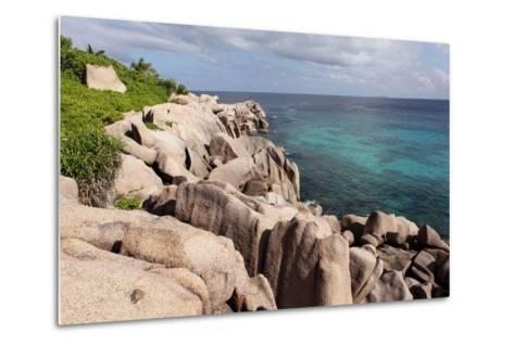 The Seychelles, La Digue, Beach, Rocks, Anse Marron-Catharina Lux-Metal Print
