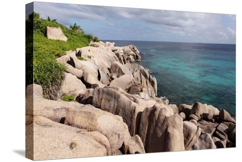 The Seychelles, La Digue, Beach, Rocks, Anse Marron-Catharina Lux-Stretched Canvas Print