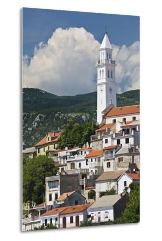 Croatia, Kvarner Gulf, Novi Vinodolski, Church, Roofs, Clouds-Rainer Mirau-Metal Print