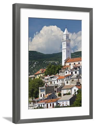 Croatia, Kvarner Gulf, Novi Vinodolski, Church, Roofs, Clouds-Rainer Mirau-Framed Art Print