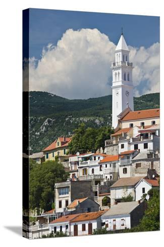 Croatia, Kvarner Gulf, Novi Vinodolski, Church, Roofs, Clouds-Rainer Mirau-Stretched Canvas Print