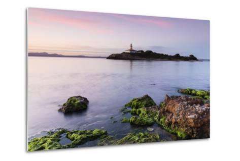View over the Sea on the Lighthouse of the Island Illa D'Alcanada, Daybreak, Alcanada-P. Kaczynski-Metal Print