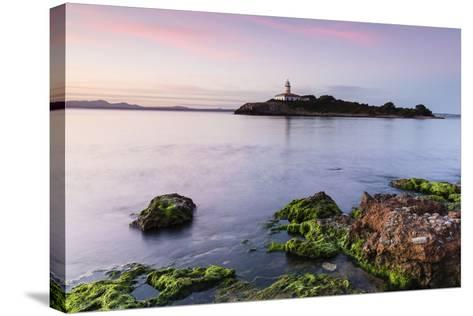 View over the Sea on the Lighthouse of the Island Illa D'Alcanada, Daybreak, Alcanada-P. Kaczynski-Stretched Canvas Print