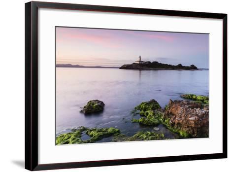 View over the Sea on the Lighthouse of the Island Illa D'Alcanada, Daybreak, Alcanada-P. Kaczynski-Framed Art Print