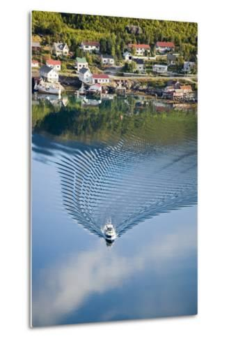 Scandinavia, Norway, Lofoten, Moskenesoey, Pure, Fisher-Place, Lake, Boat, Drives-Rainer Mirau-Metal Print