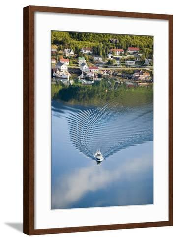 Scandinavia, Norway, Lofoten, Moskenesoey, Pure, Fisher-Place, Lake, Boat, Drives-Rainer Mirau-Framed Art Print