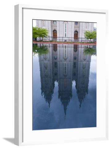 USA, Salt Lake City, Temple Square, Mormon Temple, Mirroring-Catharina Lux-Framed Art Print
