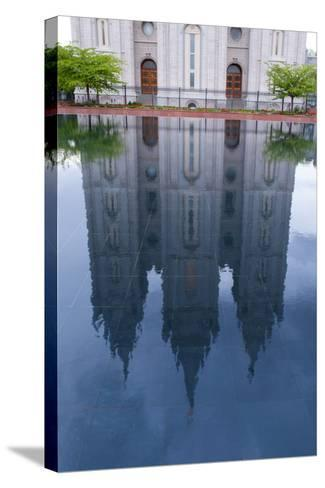USA, Salt Lake City, Temple Square, Mormon Temple, Mirroring-Catharina Lux-Stretched Canvas Print