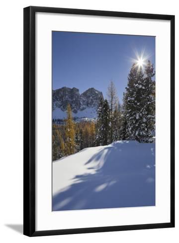 Italy, Veneto, Passo Di Giau, Croda Da Lago, the Sun-Rainer Mirau-Framed Art Print