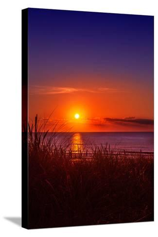 Netherlands, Holland, Beach on the West Frisian Island of Texel, North Holland, Sunset-Beate Margraf-Stretched Canvas Print
