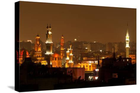 Egypt, Cairo, Islamic Old Town, Minarets, Illuminated-Catharina Lux-Stretched Canvas Print