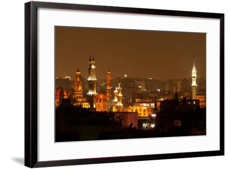 Egypt, Cairo, Islamic Old Town, Minarets, Illuminated-Catharina Lux-Framed Art Print