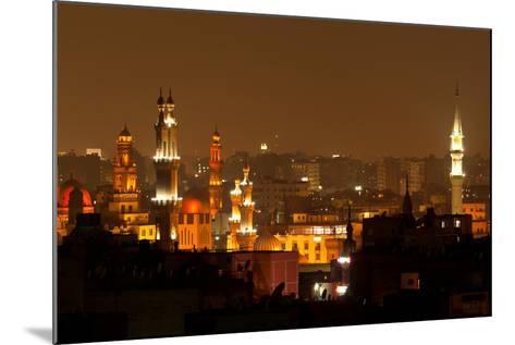 Egypt, Cairo, Islamic Old Town, Minarets, Illuminated-Catharina Lux-Mounted Photographic Print