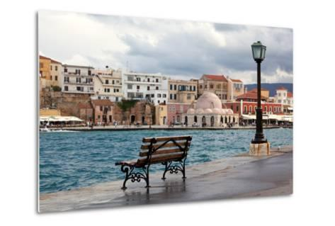 Greece, Crete, Chania, Venetian Harbour, Waterside Promenade, Bench-Catharina Lux-Metal Print