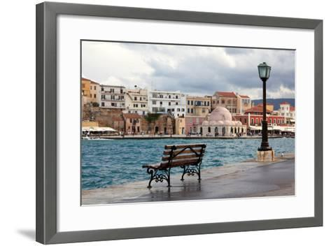 Greece, Crete, Chania, Venetian Harbour, Waterside Promenade, Bench-Catharina Lux-Framed Art Print