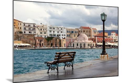 Greece, Crete, Chania, Venetian Harbour, Waterside Promenade, Bench-Catharina Lux-Mounted Photographic Print