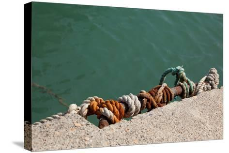 Greece, Crete, Sitia, Harbour, Landing Stage, Ropes-Catharina Lux-Stretched Canvas Print