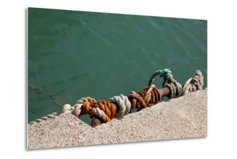 Greece, Crete, Sitia, Harbour, Landing Stage, Ropes-Catharina Lux-Metal Print