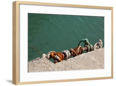 Greece, Crete, Sitia, Harbour, Landing Stage, Ropes-Catharina Lux-Framed Art Print