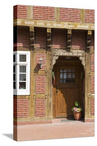Germany, Artland, Gehrde, Half-Timbered House, Detail, Front Door-Frank Lukasseck-Stretched Canvas Print