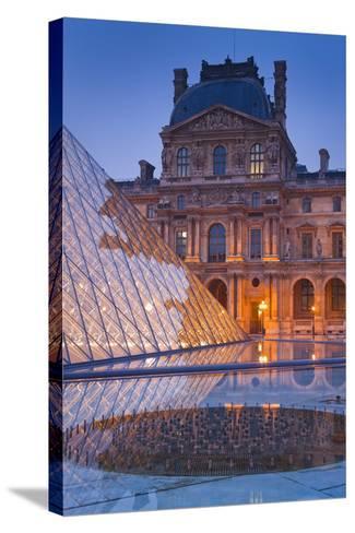 France, Paris, Ile De France, Louvre, Dusk, Pyramid-Rainer Mirau-Stretched Canvas Print