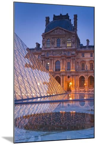 France, Paris, Ile De France, Louvre, Dusk, Pyramid-Rainer Mirau-Mounted Photographic Print