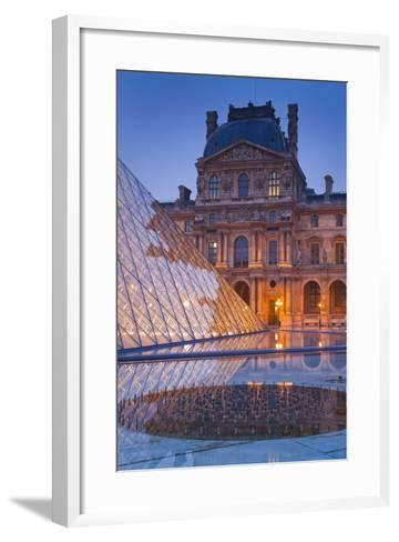 France, Paris, Ile De France, Louvre, Dusk, Pyramid-Rainer Mirau-Framed Art Print