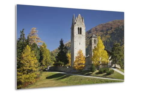 Switzerland, GraubŸnden (Canton), the Engadine, San Gian, Church, Ruin-Rainer Mirau-Metal Print