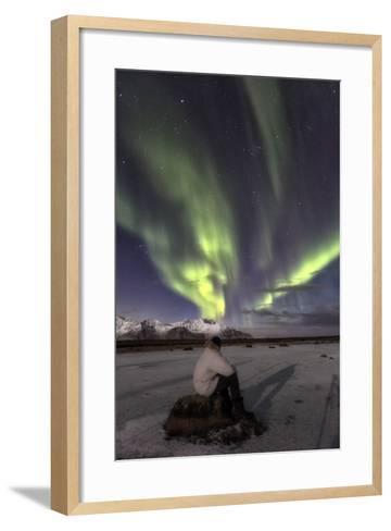 Man Sitting on Rock and Watching the Polar Light, at Night-Dieter Meyrl-Framed Art Print