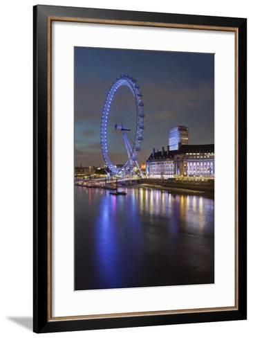 Thames Shore, London Eye, County Hall, Aquarium, in the Evening, London, England, Great Britain-Rainer Mirau-Framed Art Print