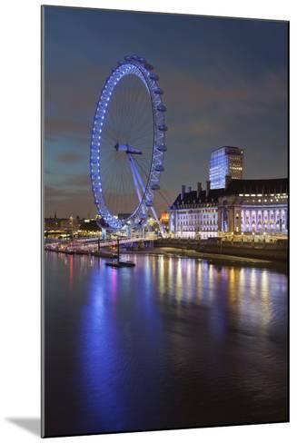 Thames Shore, London Eye, County Hall, Aquarium, in the Evening, London, England, Great Britain-Rainer Mirau-Mounted Photographic Print