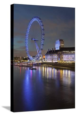 Thames Shore, London Eye, County Hall, Aquarium, in the Evening, London, England, Great Britain-Rainer Mirau-Stretched Canvas Print