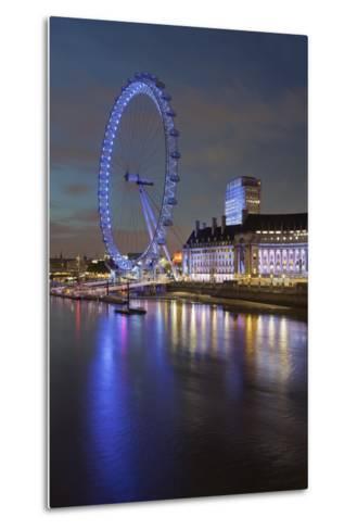 Thames Shore, London Eye, County Hall, Aquarium, in the Evening, London, England, Great Britain-Rainer Mirau-Metal Print