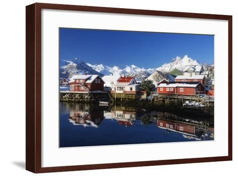 Norway, Lofoten, Reine, Houses, Water, Mountains-Dieter Meyrl-Framed Art Print