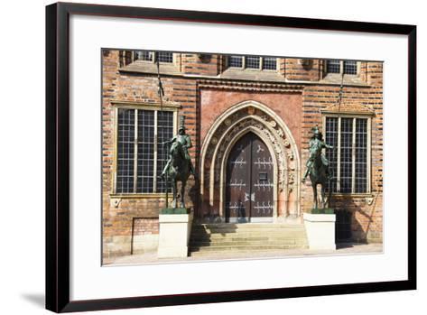 Germany, Bremen, City Hall, East Entrance, Herold Statues-Frank Lukasseck-Framed Art Print