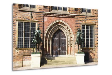 Germany, Bremen, City Hall, East Entrance, Herold Statues-Frank Lukasseck-Metal Print