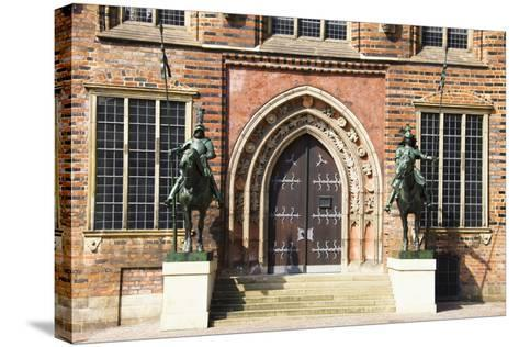 Germany, Bremen, City Hall, East Entrance, Herold Statues-Frank Lukasseck-Stretched Canvas Print