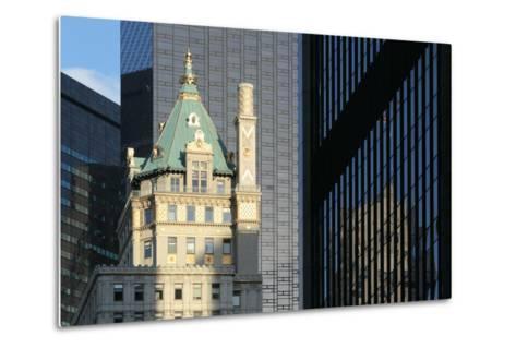 USA, New York City, Manhattan, Skyscraper, Glass Front, Reflection Plaza Hotel-Catharina Lux-Metal Print