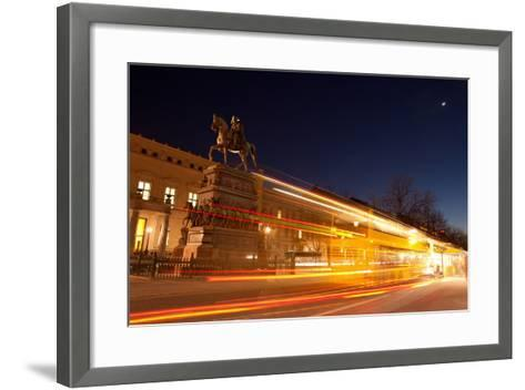 Berlin, Unter Den Linden, Monument Frederick the Great, Night Photography-Catharina Lux-Framed Art Print