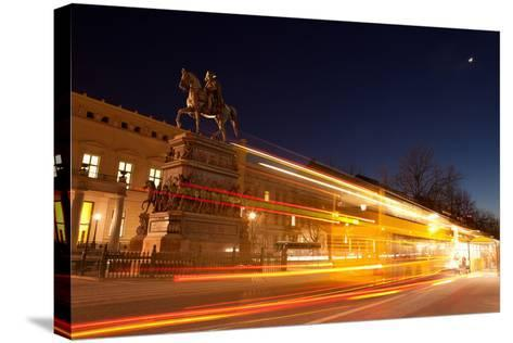 Berlin, Unter Den Linden, Monument Frederick the Great, Night Photography-Catharina Lux-Stretched Canvas Print