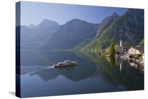 Austria, Upper Austria, Hallstatt, Ferry, Salzkammergut (Region)-Rainer Mirau-Stretched Canvas Print