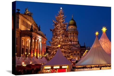Germany, Berlin, Gendarmenmarkt, Christmas Market, Dusk, Dome, Lighting, Evening-Catharina Lux-Stretched Canvas Print