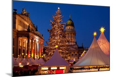 Germany, Berlin, Gendarmenmarkt, Christmas Market, Dusk, Dome, Lighting, Evening-Catharina Lux-Mounted Photographic Print