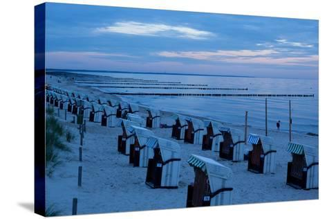 The Baltic Sea, Dar§, Wustrow, Evening Mood, Beach Chairs-Catharina Lux-Stretched Canvas Print