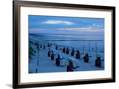 The Baltic Sea, Dar§, Wustrow, Evening Mood, Beach Chairs-Catharina Lux-Framed Art Print