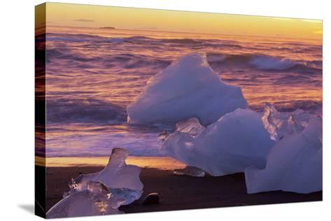 Icebergs in the Waves Next to Glacial River Lagoon Jškuls‡rlon (Lake), East Iceland, Iceland-Rainer Mirau-Stretched Canvas Print
