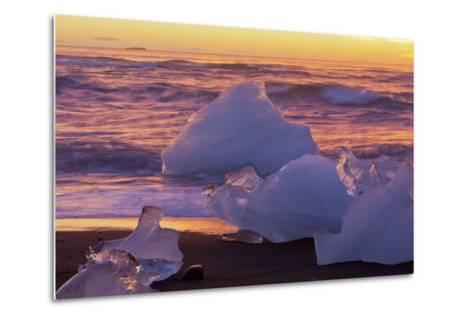 Icebergs in the Waves Next to Glacial River Lagoon Jškuls‡rlon (Lake), East Iceland, Iceland-Rainer Mirau-Metal Print