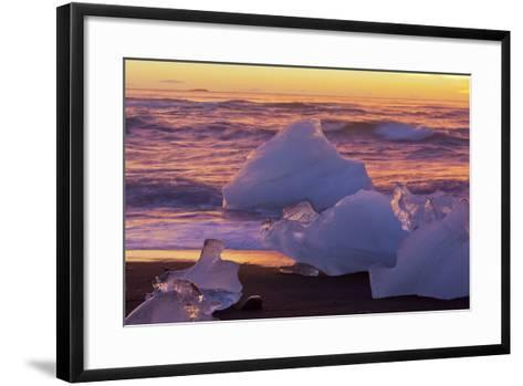 Icebergs in the Waves Next to Glacial River Lagoon Jškuls‡rlon (Lake), East Iceland, Iceland-Rainer Mirau-Framed Art Print